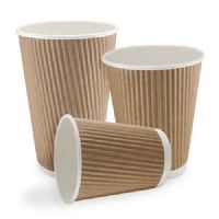 12oz Brown Ripple Coffee Cups with Lids